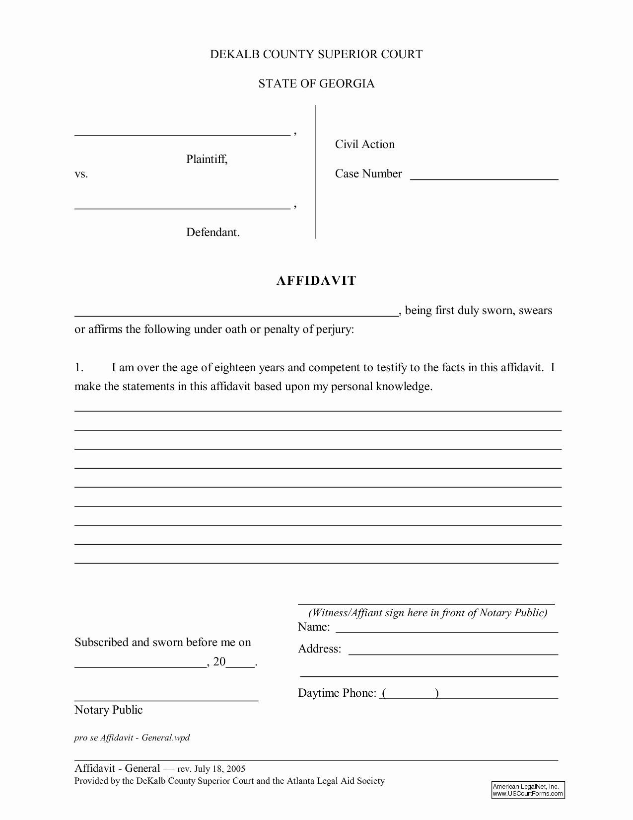 General Affidavit Template Word Elegant Free General Affidavit form Download