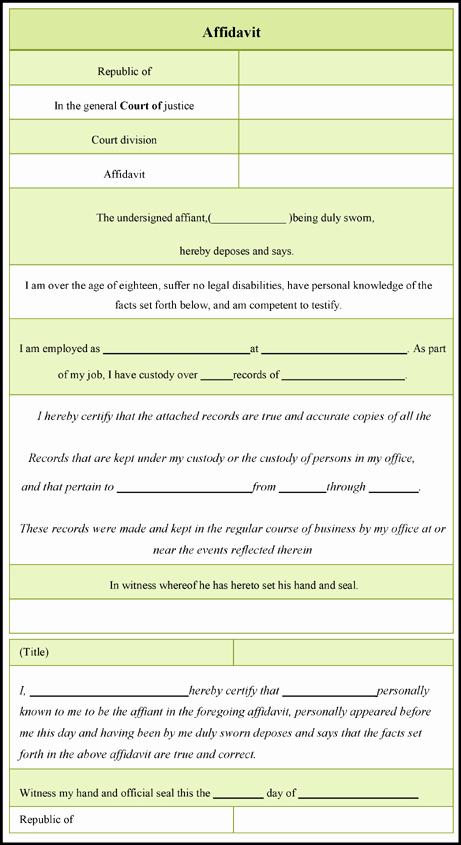 General Affidavit Template Word Luxury General Affidavit form – 3 Download Free Samples In Word Pdf