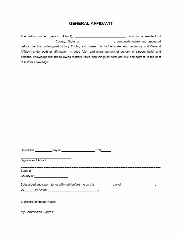 General Affidavit Template Word New Free Download Legal form Templates