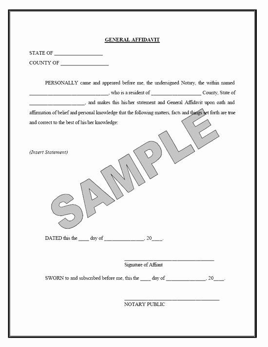 General Affidavit Template Word New Printable Sample Affidavit form form