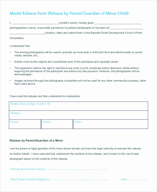 Generic Model Release form Template Elegant 47 Printable Release form Samples & Templates Pdf Doc