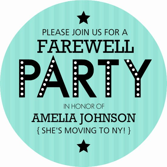 Going Away Card Template Awesome Farewell Party Invitations Turquoise Stripe Farewell