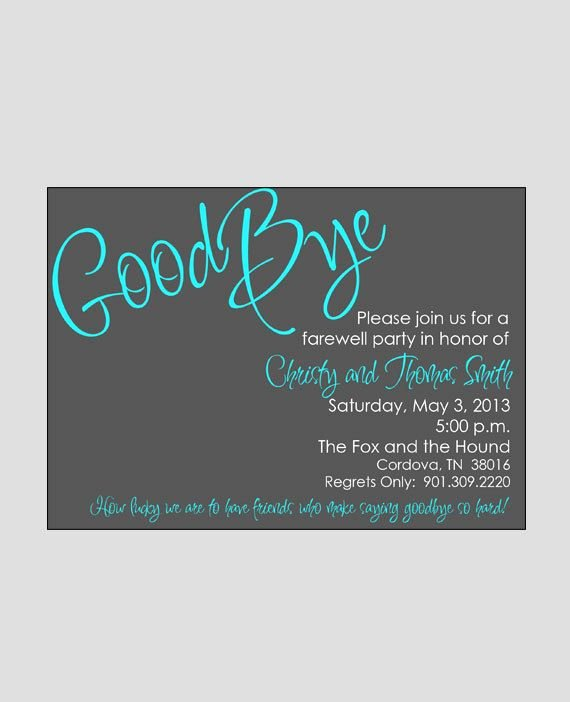 Going Away Card Template Awesome Going Away Invitation Retirement Party Invitation