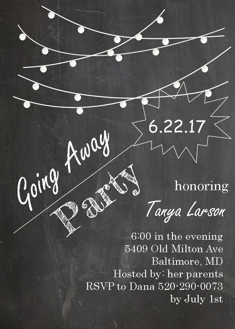 Going Away Card Template Inspirational Going Away Party Invitations Farewell Blackboard with