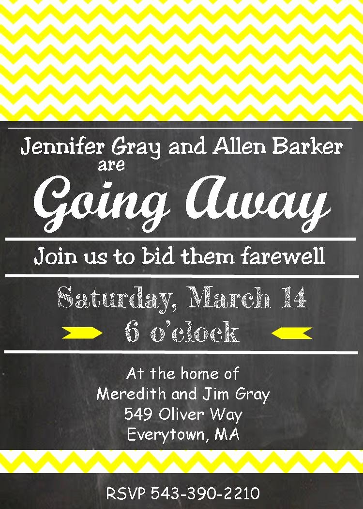 Going Away Card Template Luxury Going Away Party Invitation Templates