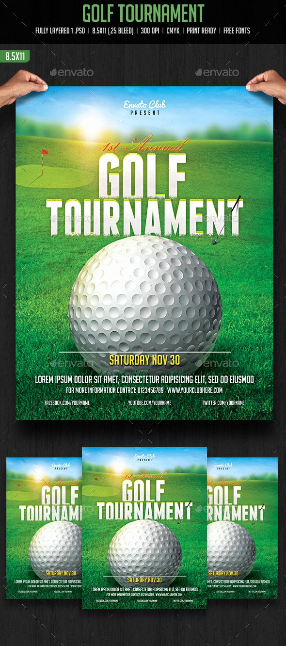 Golf tournament Brochure Template Beautiful Golf tournament Flyer by Creativeartx