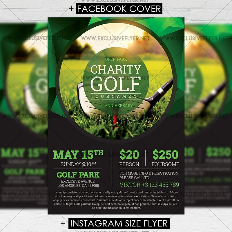 Golf tournament Brochure Template Beautiful Golf tournament – Premium A5 Flyer Template