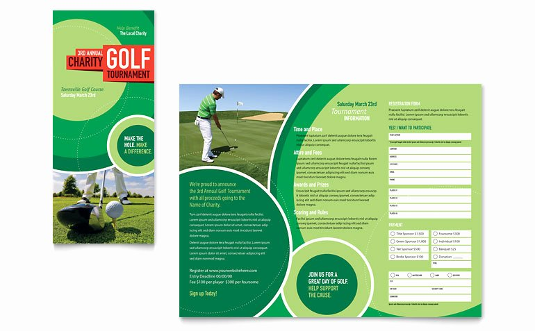 Golf tournament Brochure Template Elegant Golf tournament Tri Fold Brochure Template Word & Publisher