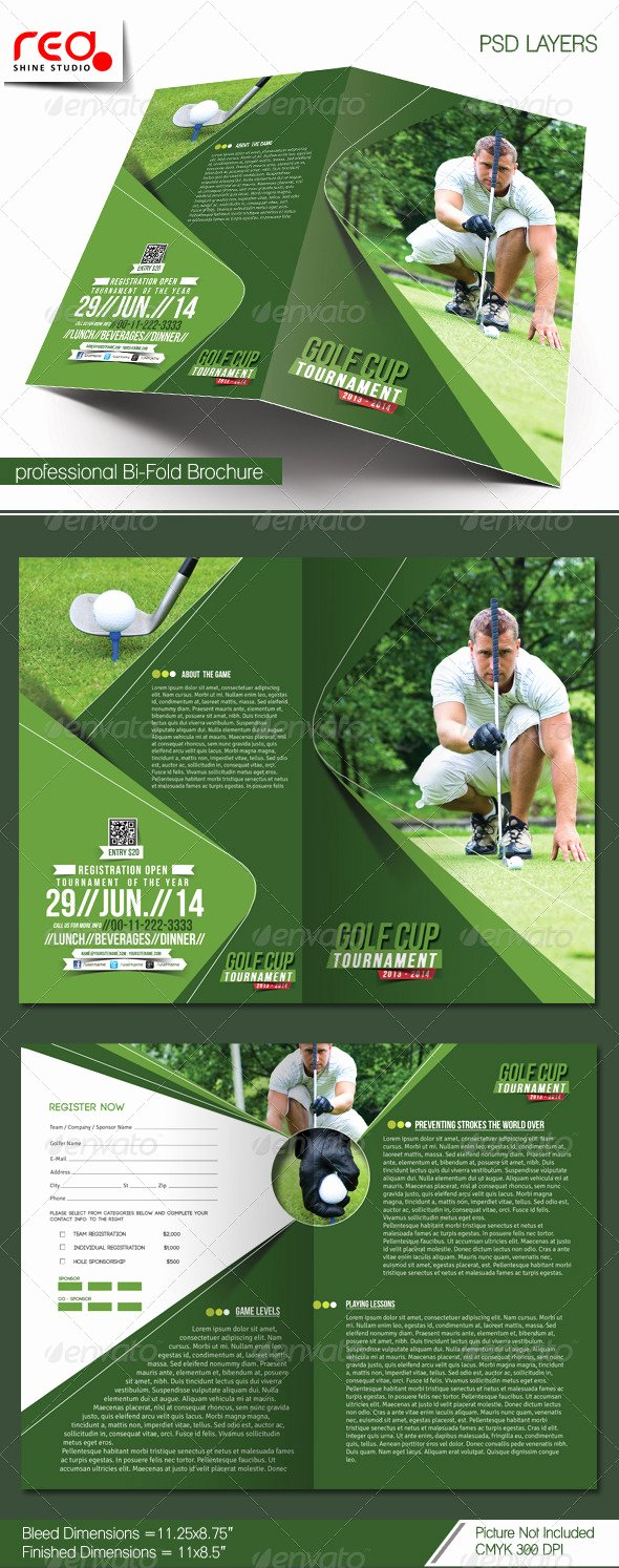 Golf tournament Brochure Template Lovely Golf tournament Bi Fold Brochure Template by