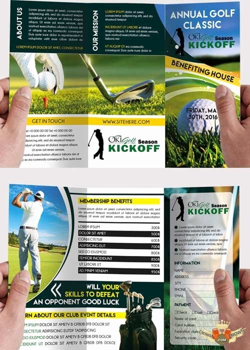 Golf tournament Brochure Template Unique Golf tournament Premium Tri Fold Psd Brochure Template