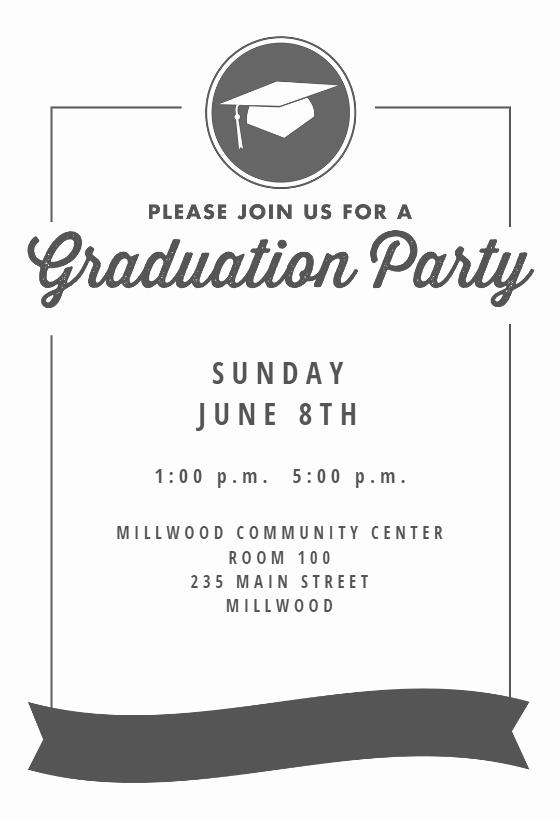 Graduation Invitation Template Word Elegant Ribbon Graduation Graduation Party Invitation Template