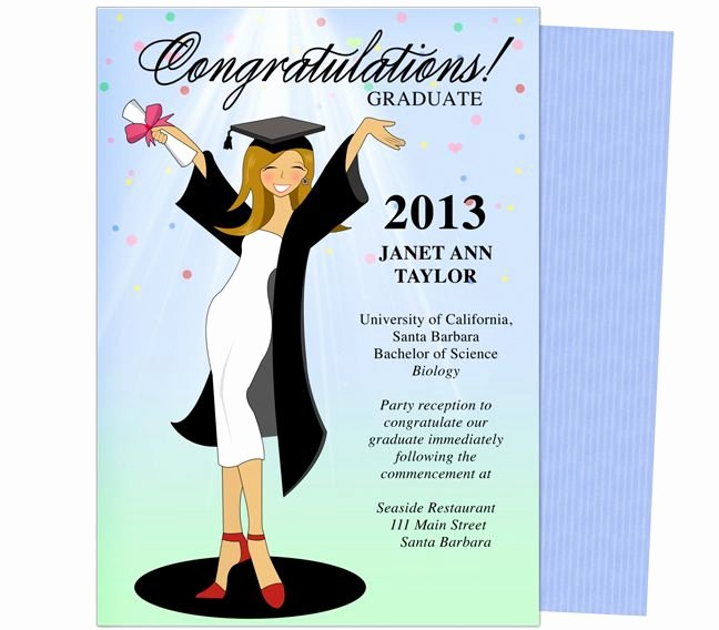 Graduation Invitation Template Word Inspirational Cheer for the Graduate Graduation Party Announcement