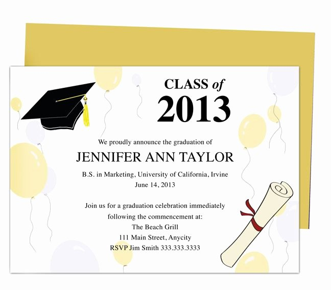 Graduation Invitation Template Word Lovely Printable Diy Templates for Grad Announcements Partytime