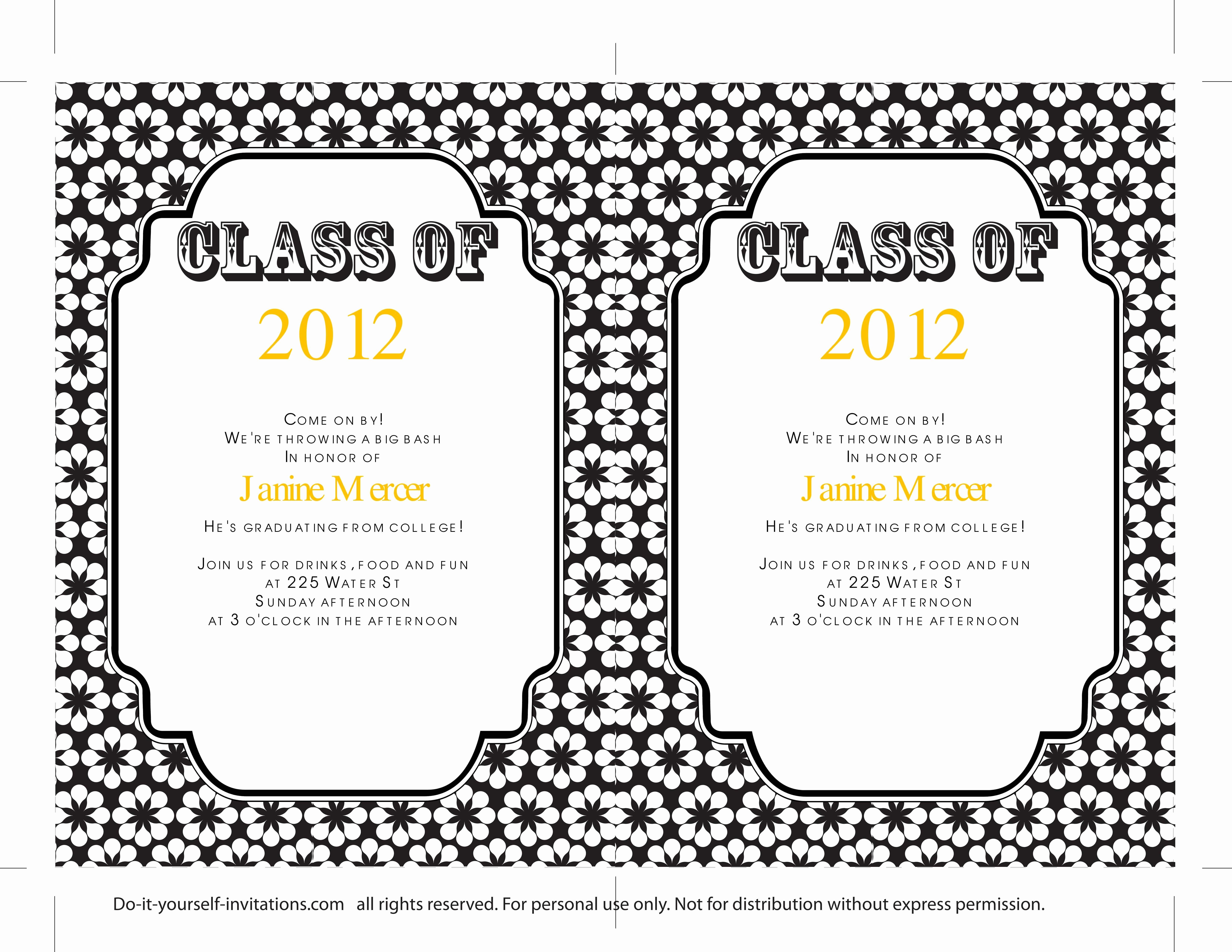 Graduation Invitation Template Word Luxury Free Graduation Invitation Templates for Word