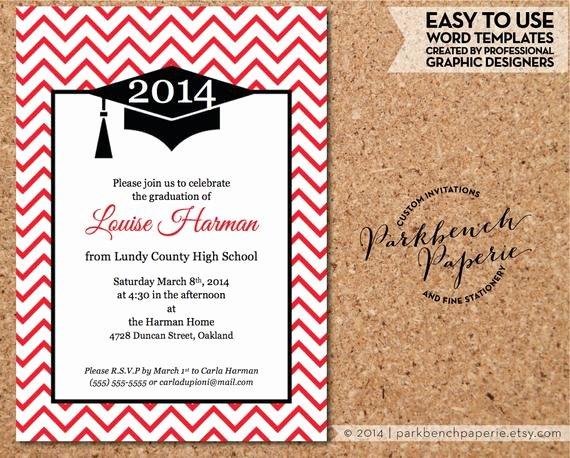 Graduation Invitation Template Word Luxury Graduation Invitation Announcement Chevron Design Red