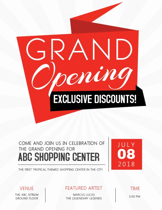 Grand Opening Flyer Template Free Lovely Grand Opening Flyer Template