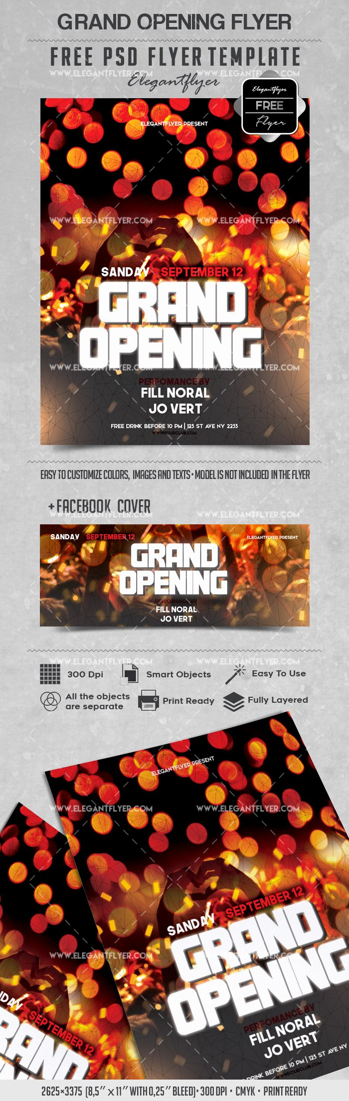 Grand Opening Flyer Template Free Unique Party for Grand Opening Lights Template – by Elegantflyer