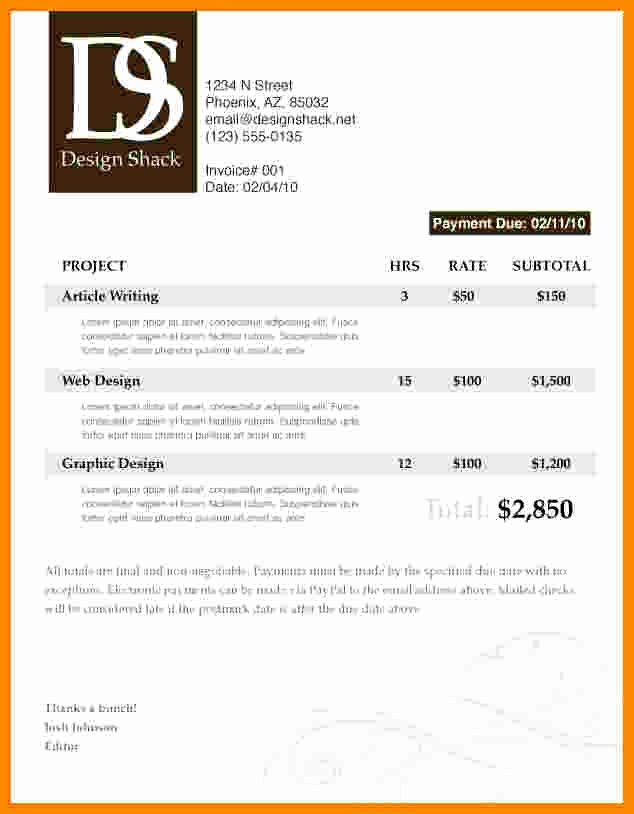 Graphic Design Invoice Template Beautiful 7 Graphic Design Invoice Template