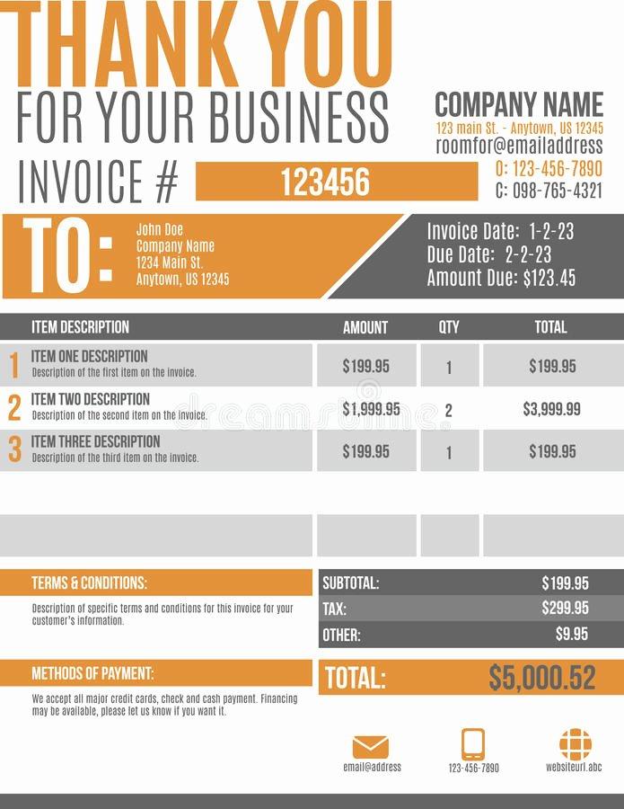Graphic Design Invoice Template New Fun Invoice Template Design Stock Vector Illustration Of