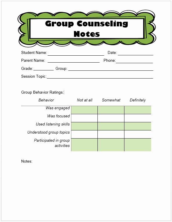 Group therapy Note Template Best Of Keeping Track Of Counseling Notes the Middle School