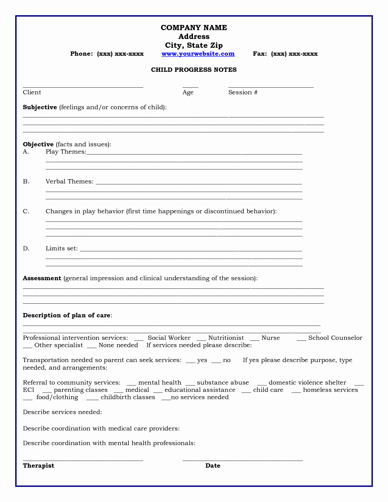 Group therapy Note Template Fresh Home Child Progress Notes Medicaid Child Progress