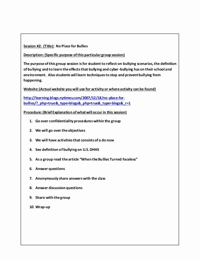 Group therapy Note Template Fresh Small Group Counseling Project Lessons Template