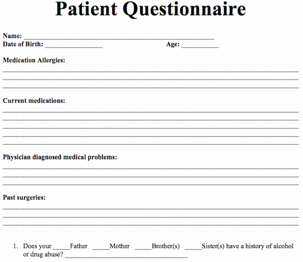 Group therapy Notes Template New Patient Questionnaire