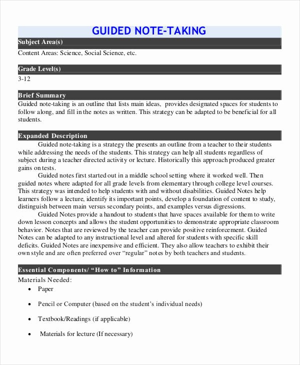 Guided Reading Template Pdf Best Of Guided Note Templates 6 Word Pdf format Download