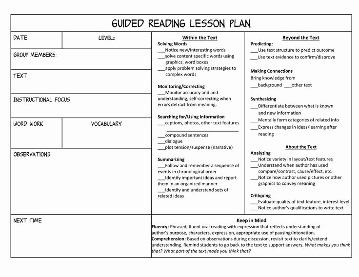 Guided Reading Template Pdf Fresh 25 Best Ideas About Guided Reading Template On Pinterest