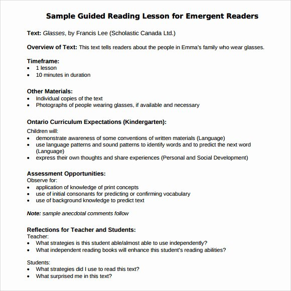 Guided Reading Template Pdf Fresh Sample Guided Reading Lesson Plan 8 Documents In Pdf