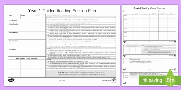 Guided Reading Template Pdf Fresh Year 1 Australian Curriculum Guided Reading Session