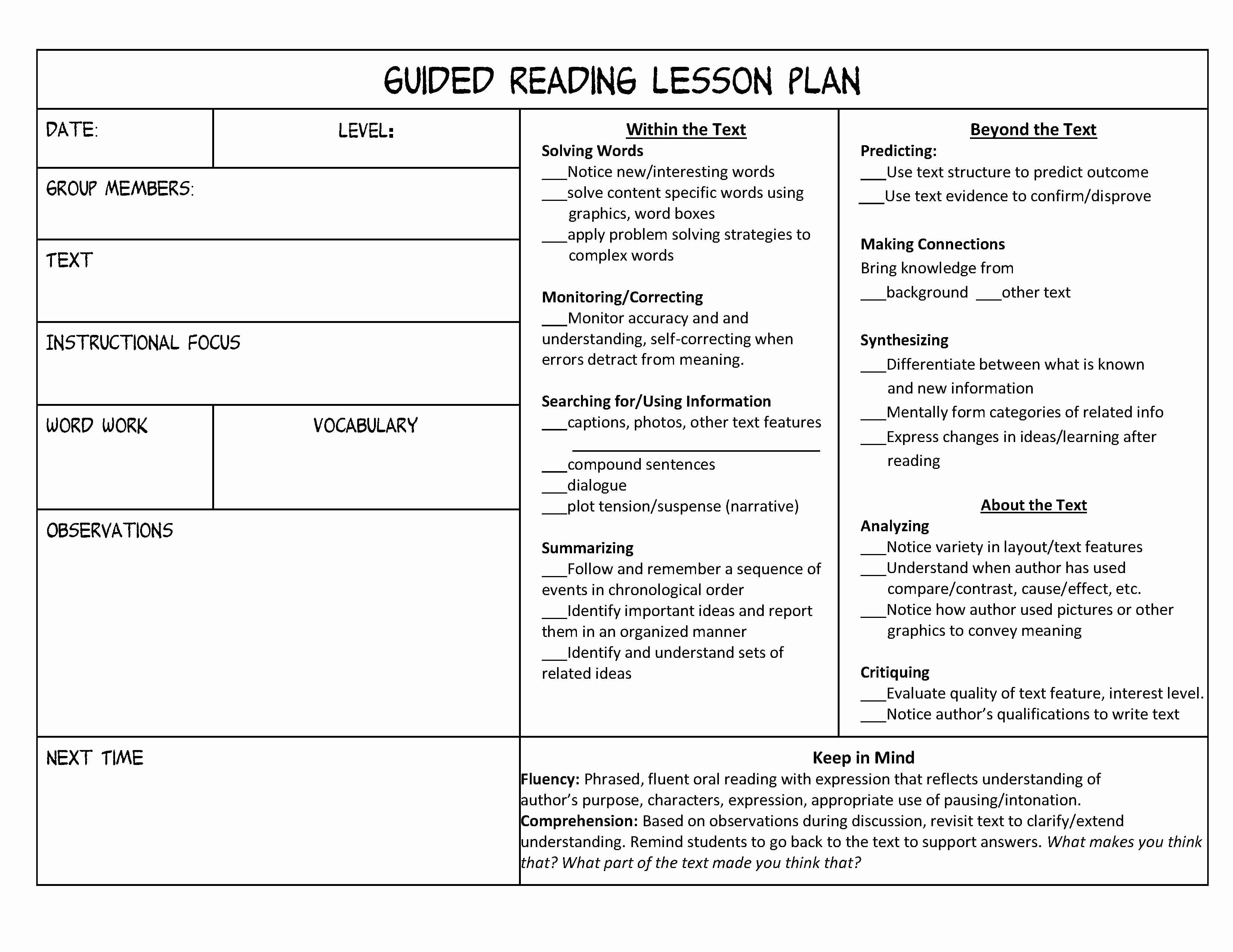 Guided Reading Template Pdf New Guided Reading organization Made Easy