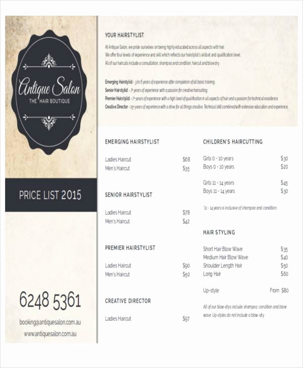 Hair Salon Price List Template Awesome Salon Price List Sample 9 Examples In Word Pdf