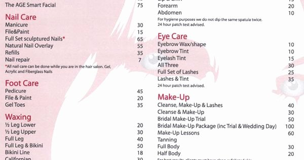 Hair Salon Price List Template Beautiful Salon Price List Salon Price List Pinterest