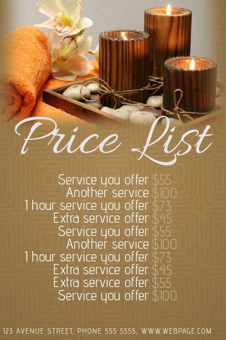 Hair Salon Price List Template Beautiful Spa or Beauty Salon Price List Template
