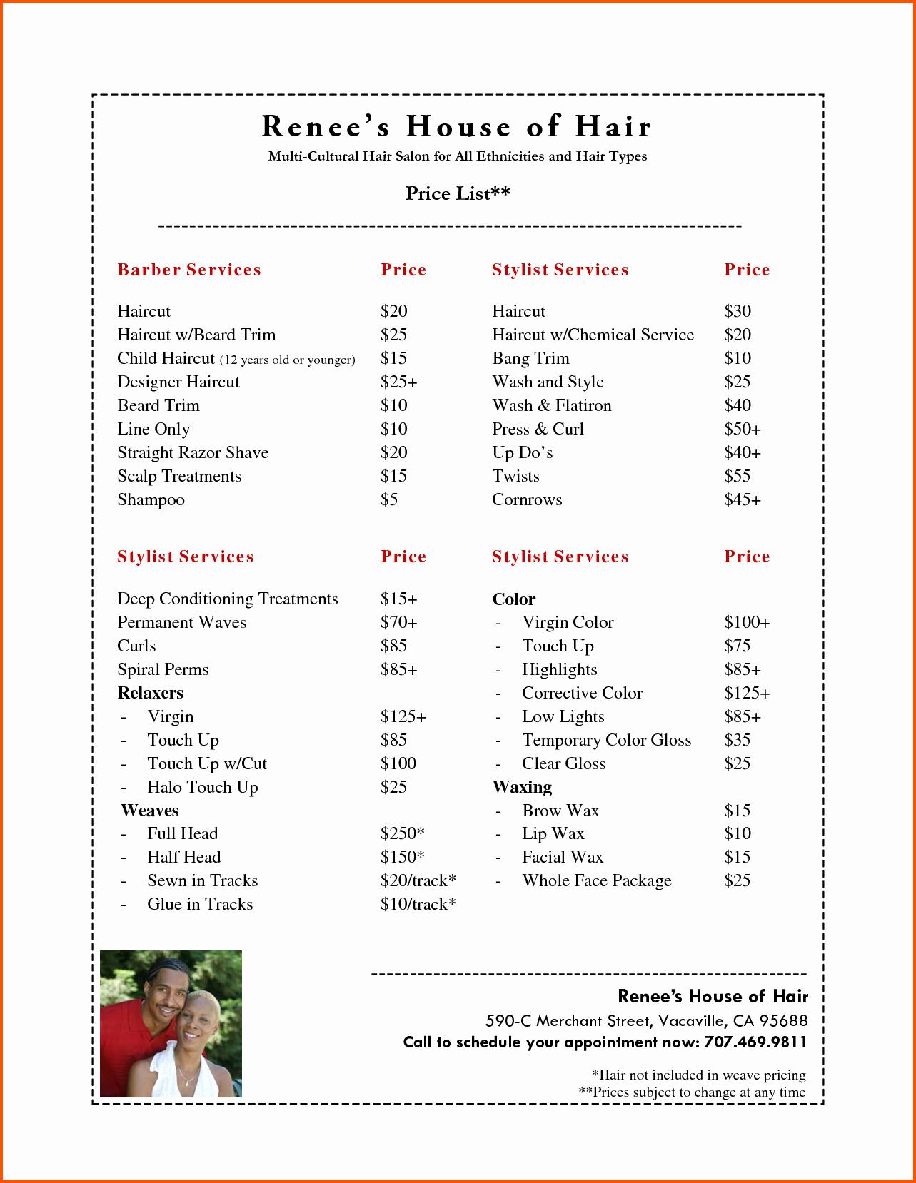 Hair Salon Price List Template Elegant 10 Salon Price List Template