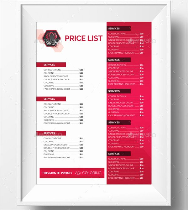 Hair Salon Price List Template Elegant 23 Printable Price List Templates Free & Premium Download