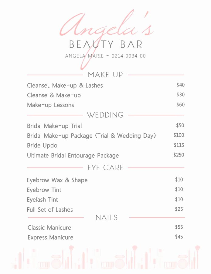Hair Salon Price List Template Fresh Elegant White Beauty Parlor Service Price List Template