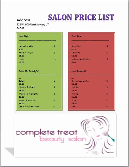 Hair Salon Price List Template Fresh Salon Price List Template Templates