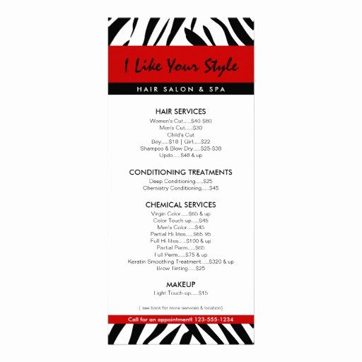Hair Salon Price List Template Fresh Zebra Print Hair Salon Price List Full Color Rack Card