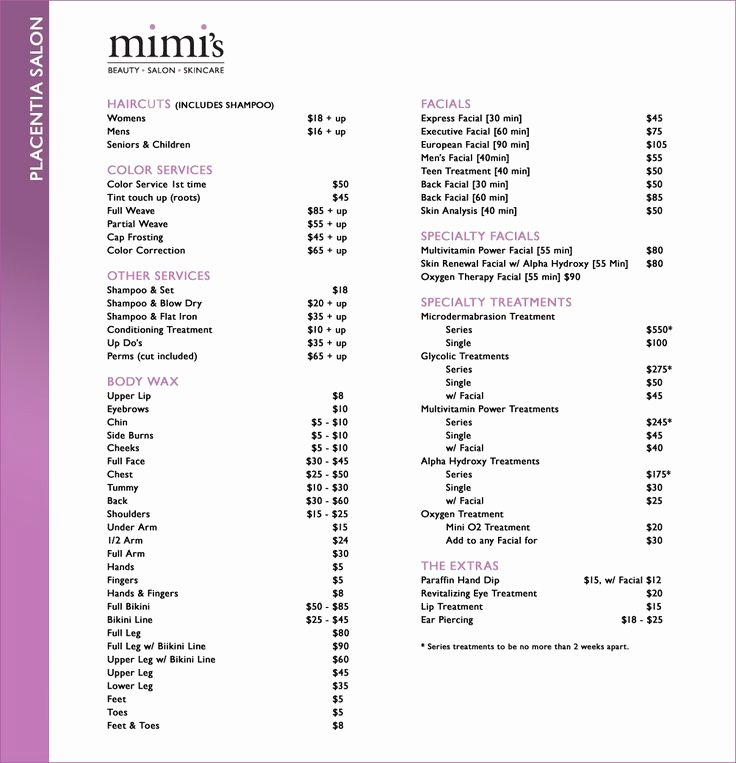 Hair Salon Price List Template Lovely Salon Price List Idea A Good Guide to Start with