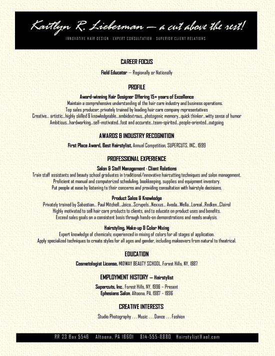 Hair Stylist Resume Template Awesome Hair Stylist Resume Example