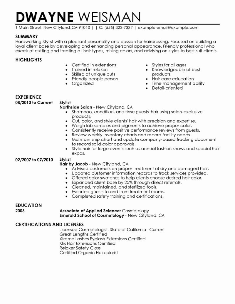 Hair Stylist Resume Template Beautiful Best Stylist Resume Example