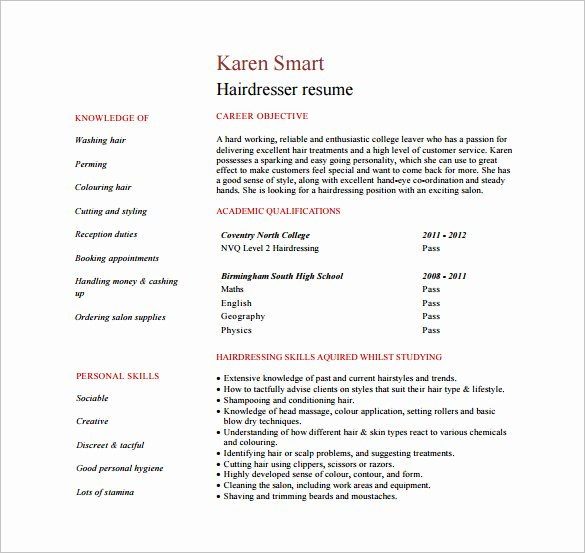 Hair Stylist Resume Template Elegant 8 Hair Stylist Resume Templates Doc Excel Pdf