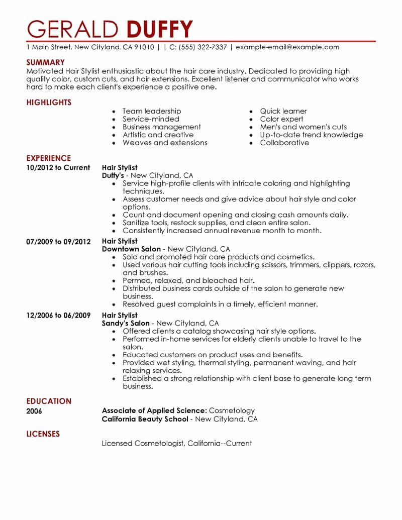 Hair Stylist Resume Template Lovely Best Hair Stylist Resume Example