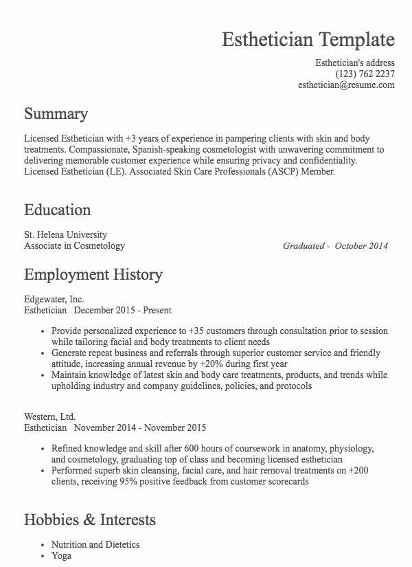 Hair Stylist Resume Template New Hair Stylist Resume Example