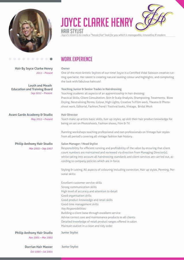 Hair Stylist Resume Template New Joyce Clarke Henry Hairdresser Resume