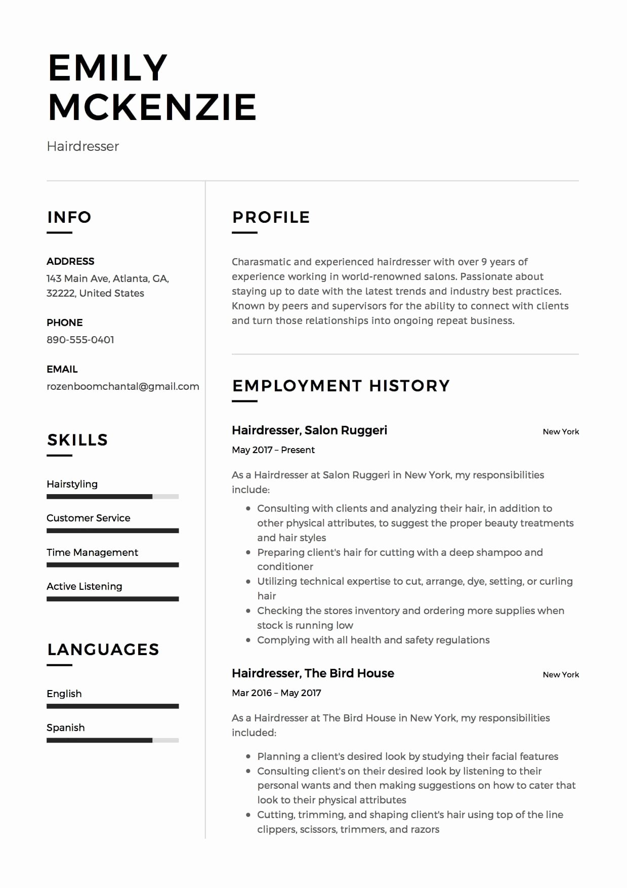 Hair Stylist Resume Template Unique 12 Free Hairdresser Resume Sample S 2018 Free Downloads
