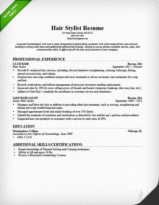 Hair Stylist Resume Templates Elegant Hair Stylist Resume Sample & Writing Guide