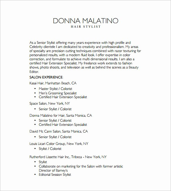 Hair Stylist Resume Templates Fresh 8 Hair Stylist Resume Templates Doc Excel Pdf
